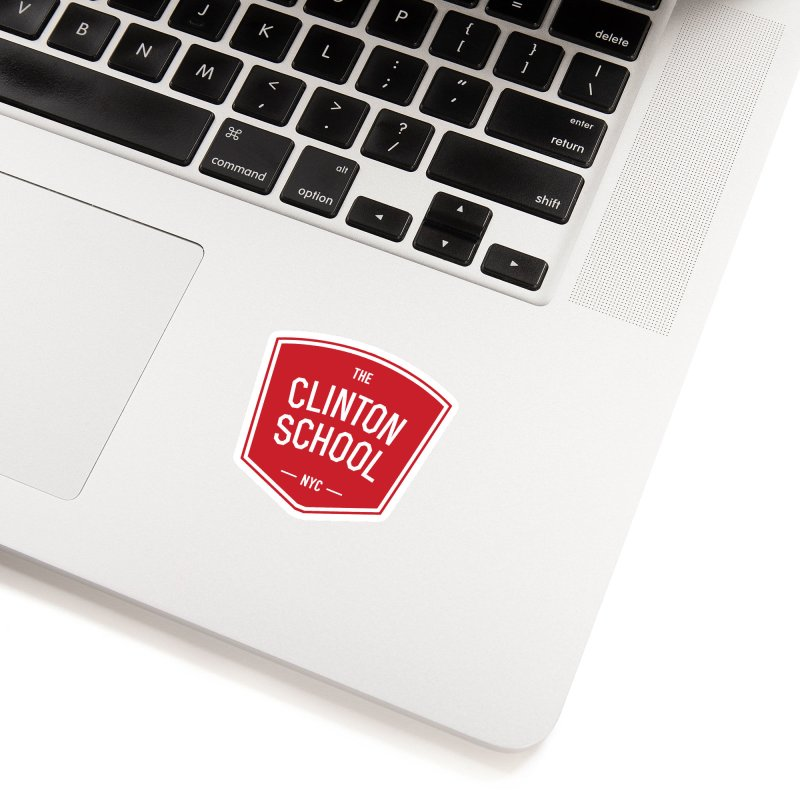 White Clinton Logo on Red in White Sticker by The Clinton School