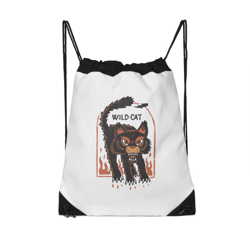 Wild cat Accessories Drawstring Bag Bag by The Cool Orange