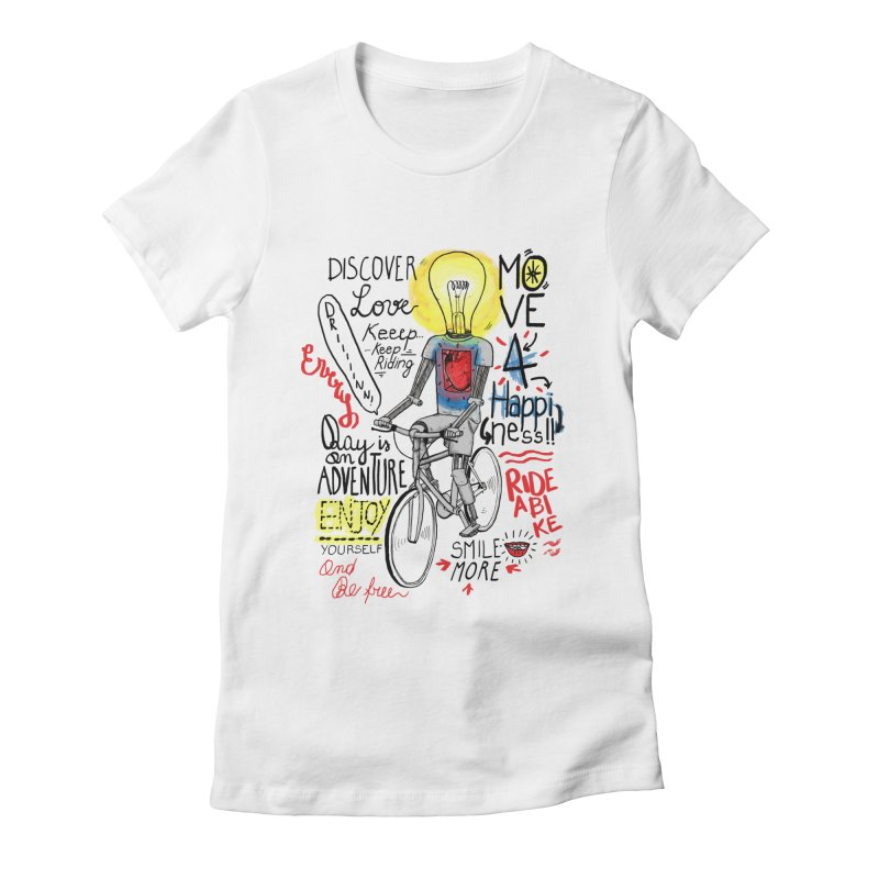 Cycling is Freedom   for bike & adventure heroes Women's Fitted T-Shirt by The Cool Orange