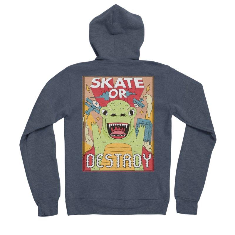 Skate or destroy everything Godzilla! Men's Sponge Fleece Zip-Up Hoody by The Cool Orange