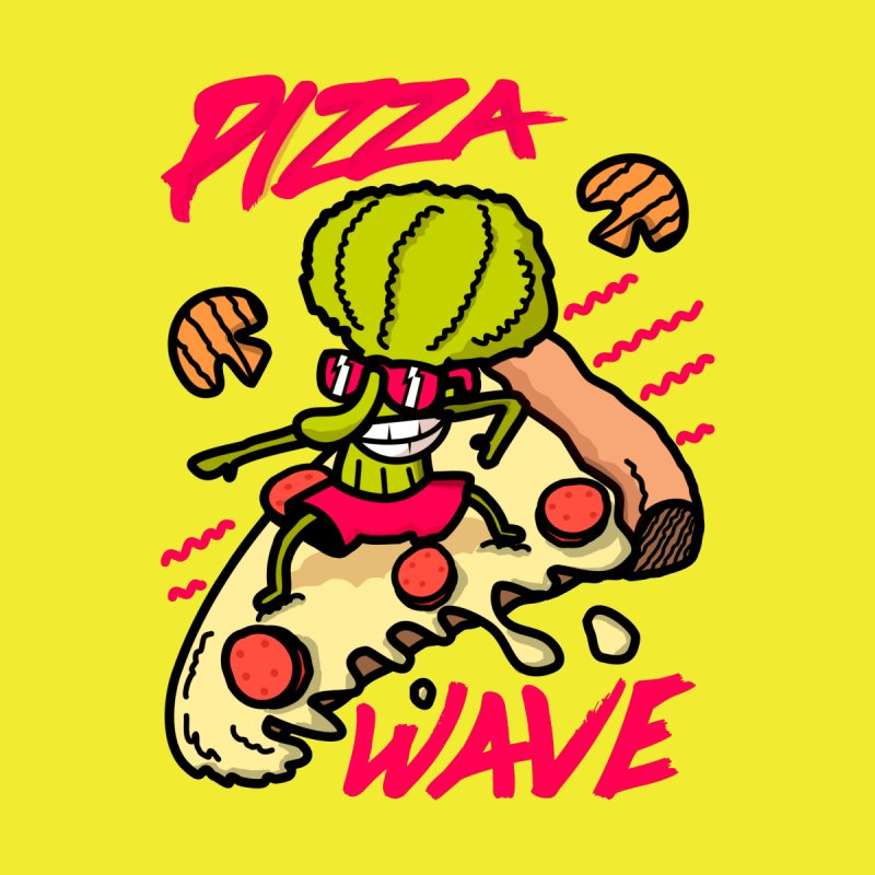 Pizza Wave 80s style and Funny t-shirt for pizza lovers Women's Scoop Neck by The Cool Orange