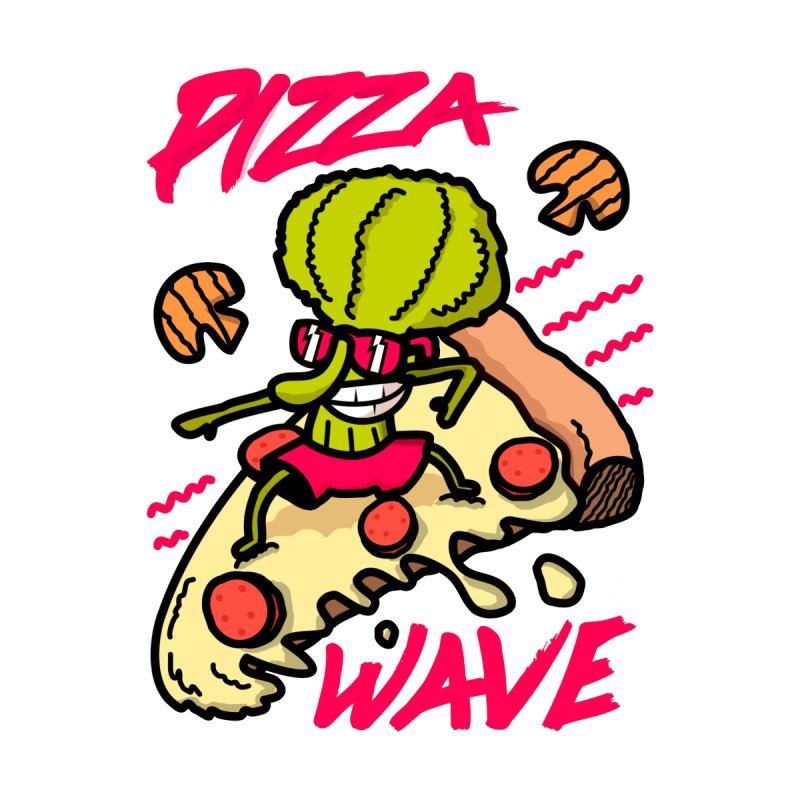 Pizza Wave 80s style and Funny t-shirt for pizza lovers   by The Cool Orange