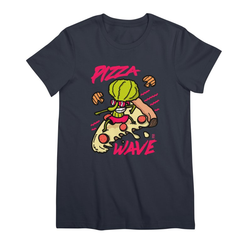 Pizza Wave 80s style and Funny t-shirt for pizza lovers Women's Premium T-Shirt by The Cool Orange