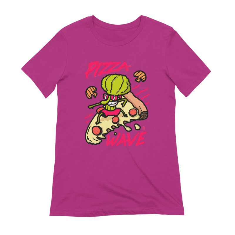 Pizza Wave 80s style and Funny t-shirt for pizza lovers Women's Extra Soft T-Shirt by The Cool Orange