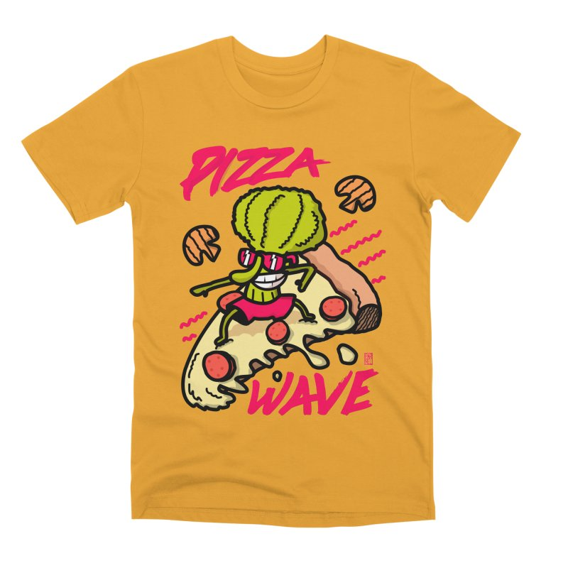 Pizza Wave 80s style and Funny t-shirt for pizza lovers Men's Premium T-Shirt by The Cool Orange