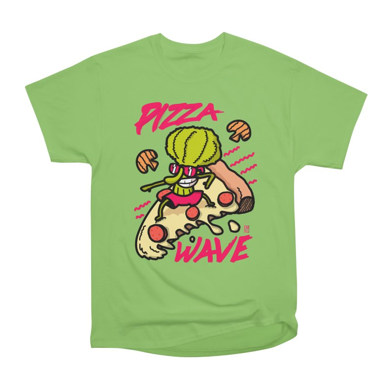 Pizza Wave 80s style and Funny t-shirt for pizza lovers Women's Heavyweight Unisex T-Shirt by The Cool Orange