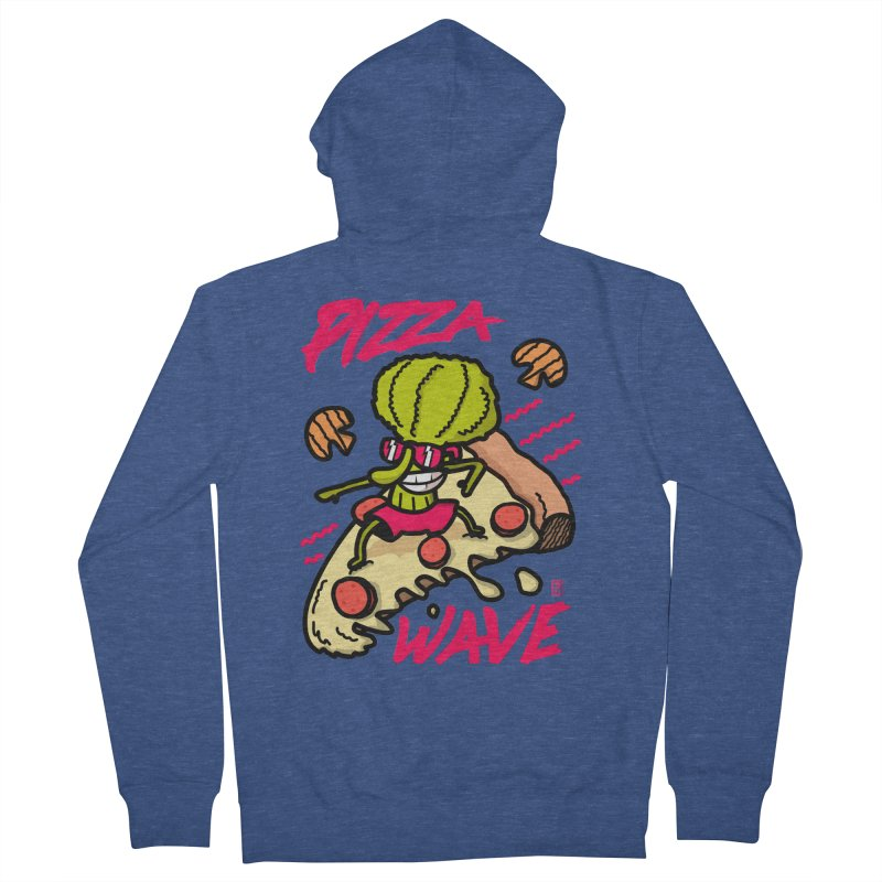 Pizza Wave 80s style and Funny t-shirt for pizza lovers Women's French Terry Zip-Up Hoody by The Cool Orange
