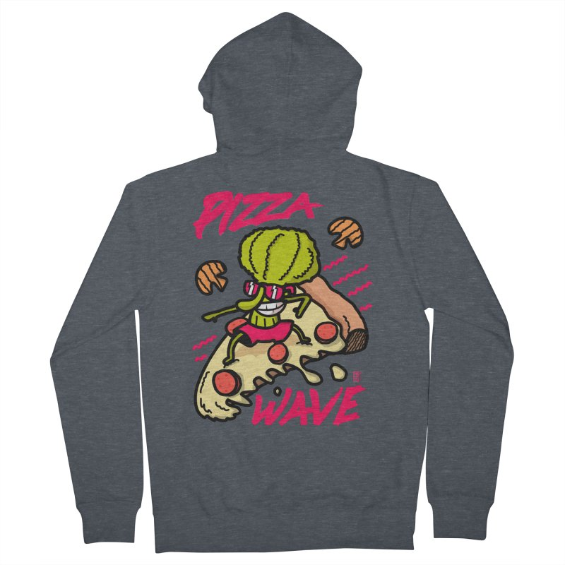 Pizza Wave 80s style and Funny t-shirt for pizza lovers Men's French Terry Zip-Up Hoody by The Cool Orange
