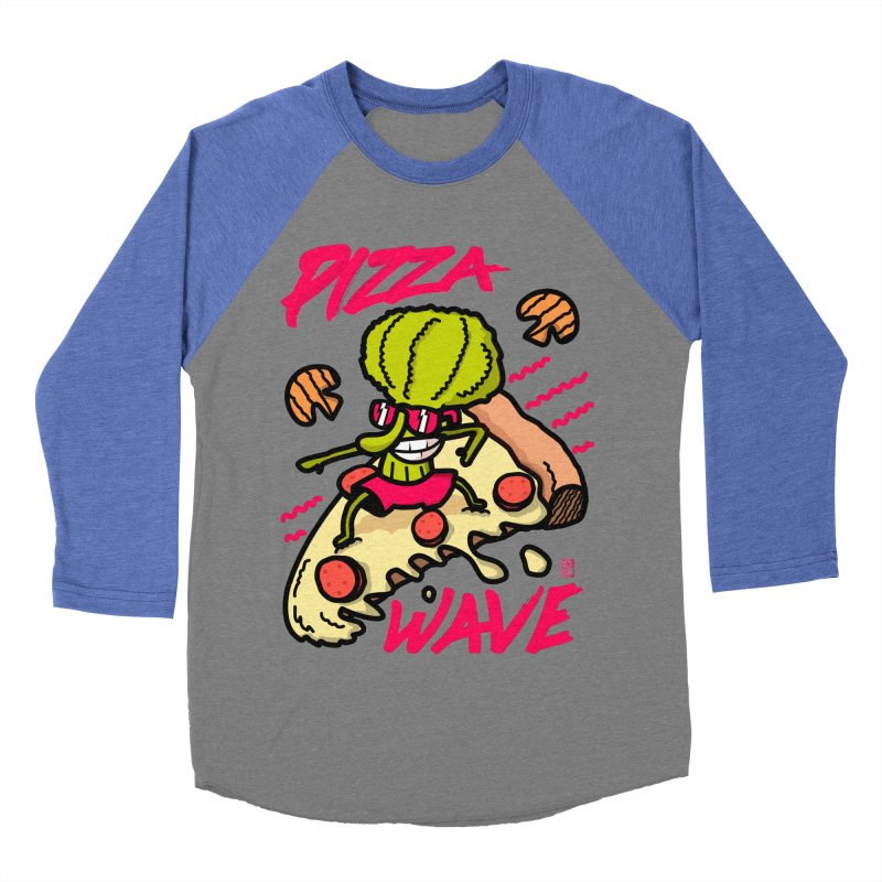 Pizza Wave 80s style and Funny t-shirt for pizza lovers Men's Baseball Triblend Longsleeve T-Shirt by The Cool Orange