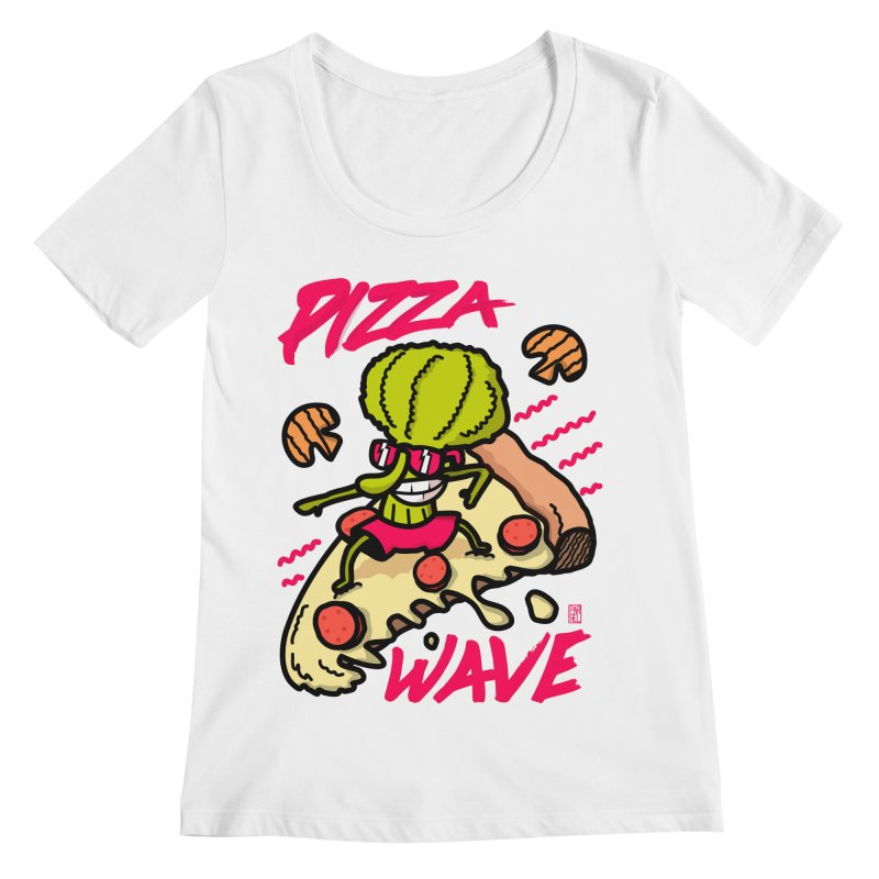 Pizza Wave 80s style and Funny t-shirt for pizza lovers Women's Regular Scoop Neck by The Cool Orange