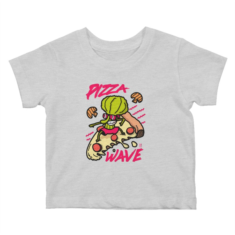 Pizza Wave 80s style and Funny t-shirt for pizza lovers Kids Baby T-Shirt by The Cool Orange