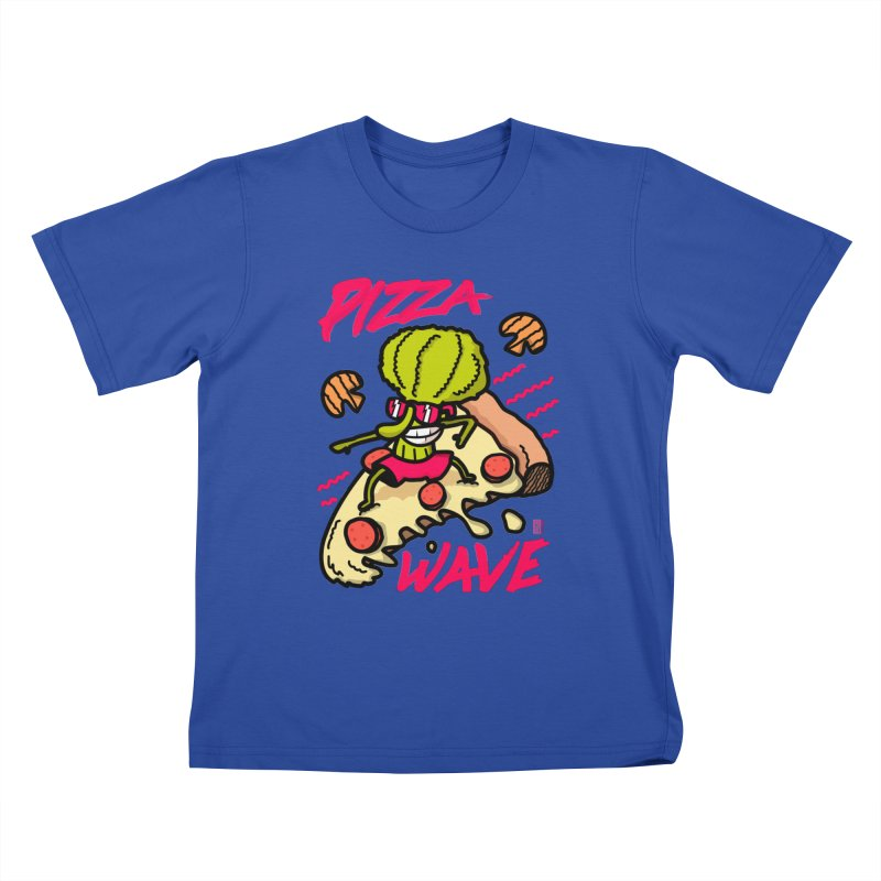 Pizza Wave 80s style and Funny t-shirt for pizza lovers Kids T-Shirt by The Cool Orange