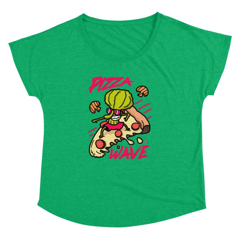 Pizza Wave 80s style and Funny t-shirt for pizza lovers Women's Dolman Scoop Neck by The Cool Orange