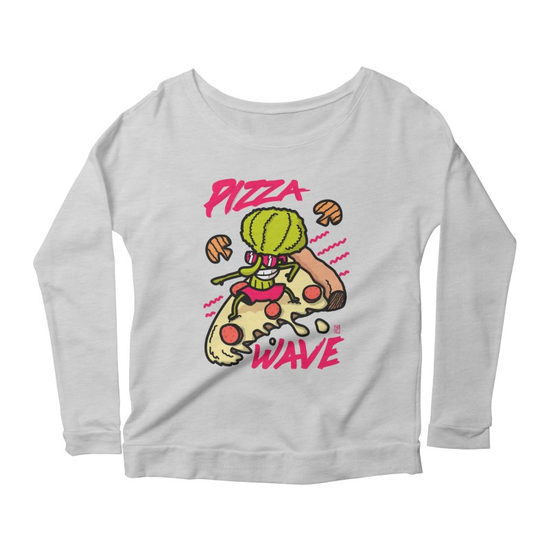 Pizza Wave 80s style and Funny t-shirt for pizza lovers Women's Scoop Neck Longsleeve T-Shirt by The Cool Orange