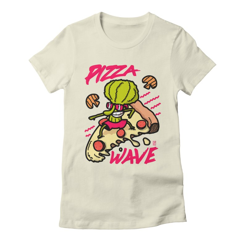 Pizza Wave 80s style and Funny t-shirt for pizza lovers Women's Fitted T-Shirt by The Cool Orange