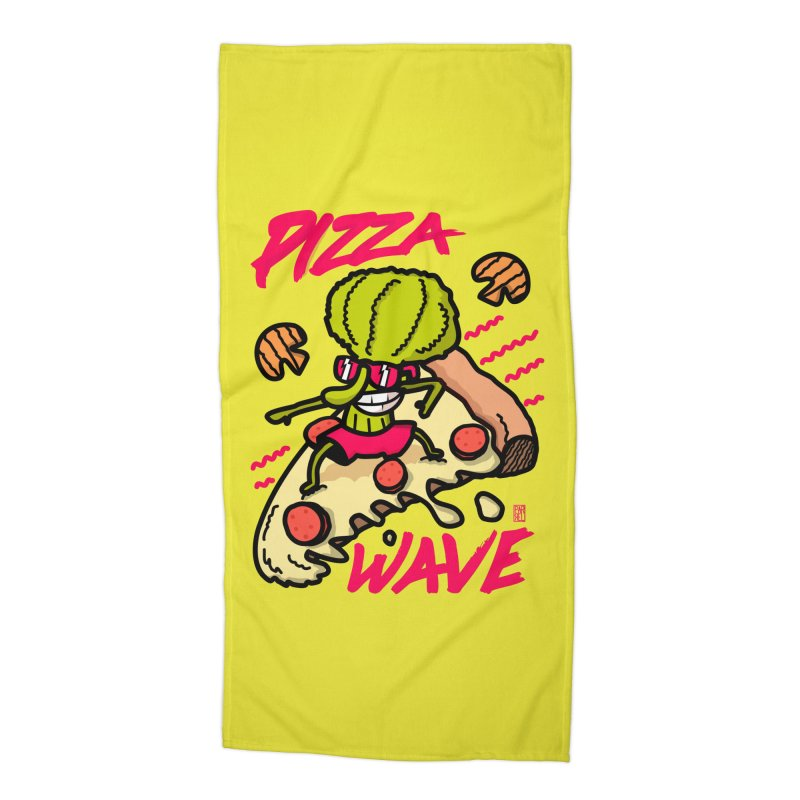 Pizza Wave 80s style and Funny t-shirt for pizza lovers Accessories Beach Towel by The Cool Orange