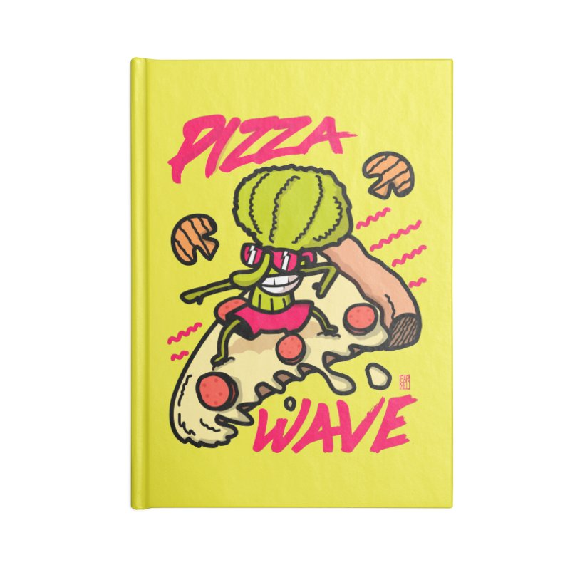 Pizza Wave 80s style and Funny t-shirt for pizza lovers Accessories Lined Journal Notebook by The Cool Orange