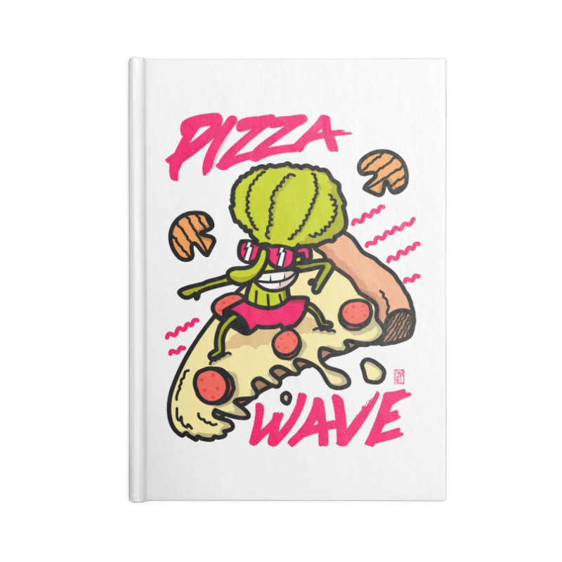 Pizza Wave 80s style and Funny t-shirt for pizza lovers Accessories Notebook by The Cool Orange