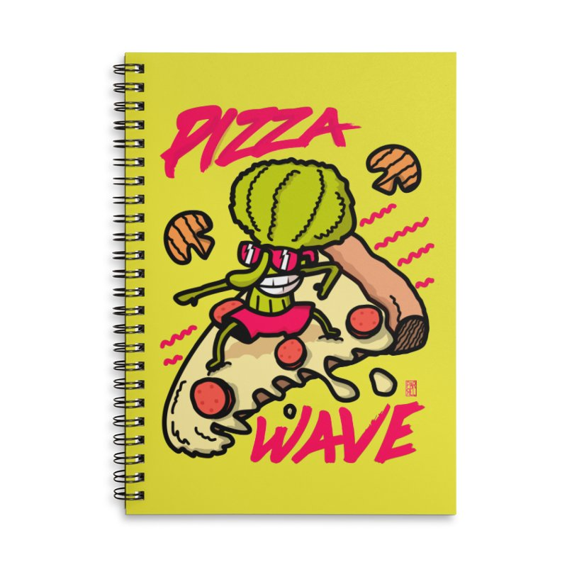 Pizza Wave 80s style and Funny t-shirt for pizza lovers Accessories Lined Spiral Notebook by The Cool Orange