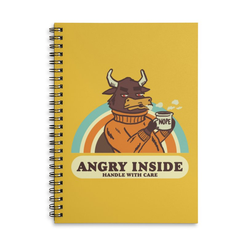 angry inside Accessories Lined Spiral Notebook by The Cool Orange