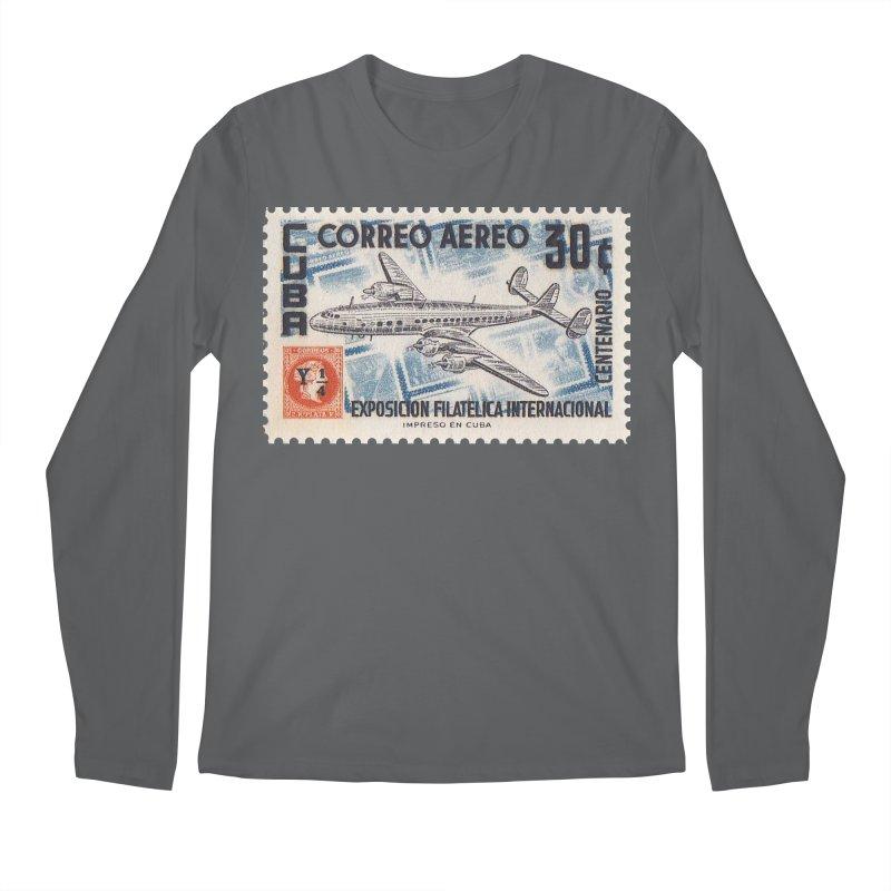 Cuba Vintage Stamp Art 1955 Men's Longsleeve T-Shirt by The Cuba Travel Store Artist Shop