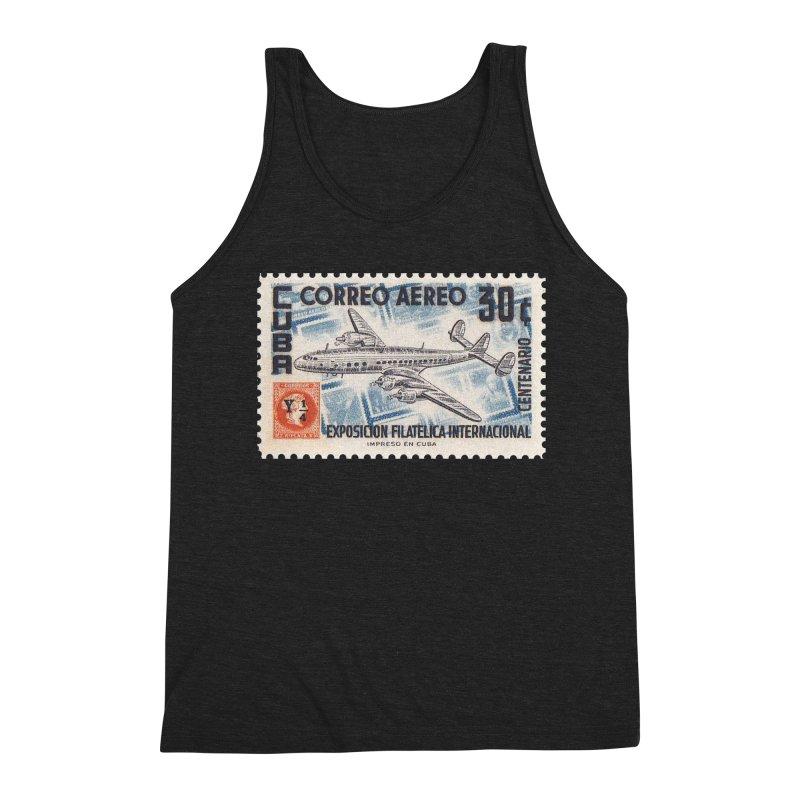 Cuba Vintage Stamp Art 1955 Men's Tank by The Cuba Travel Store Artist Shop