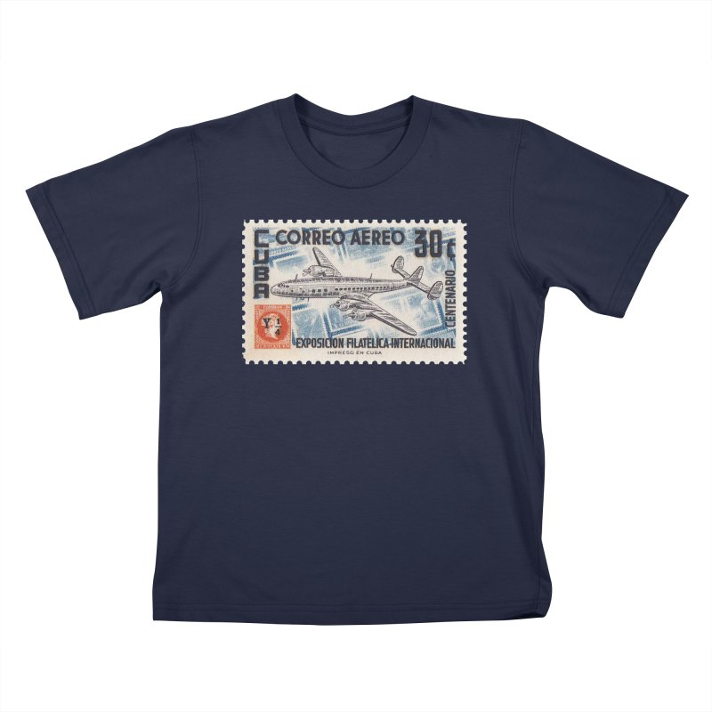 Cuba Vintage Stamp Art 1955 Kids T-Shirt by The Cuba Travel Store Artist Shop