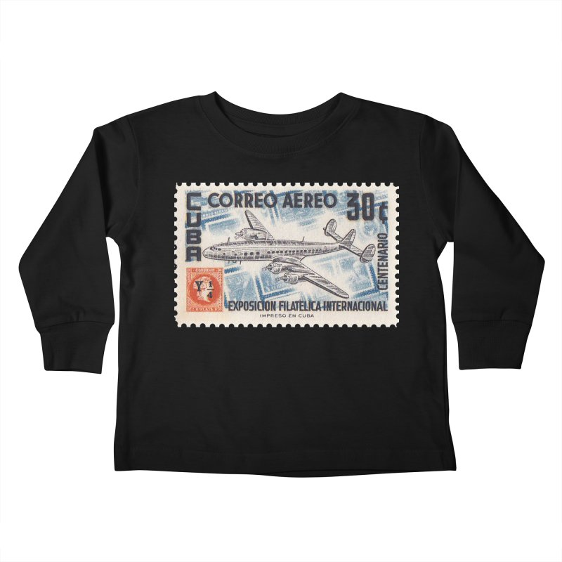 Cuba Vintage Stamp Art 1955 Kids Toddler Longsleeve T-Shirt by The Cuba Travel Store Artist Shop