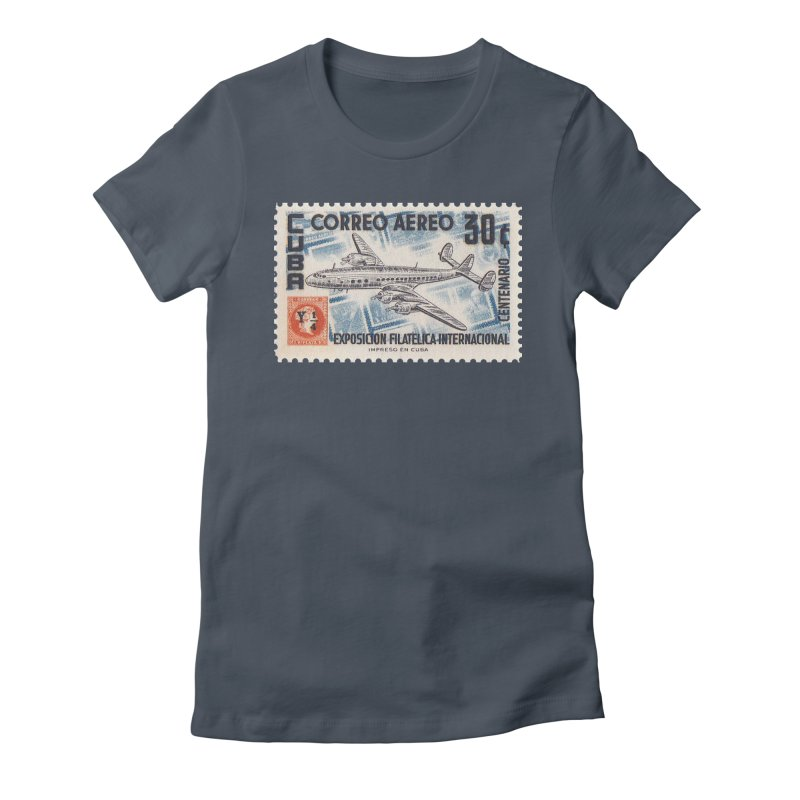 Cuba Vintage Stamp Art 1955 Women's T-Shirt by The Cuba Travel Store Artist Shop