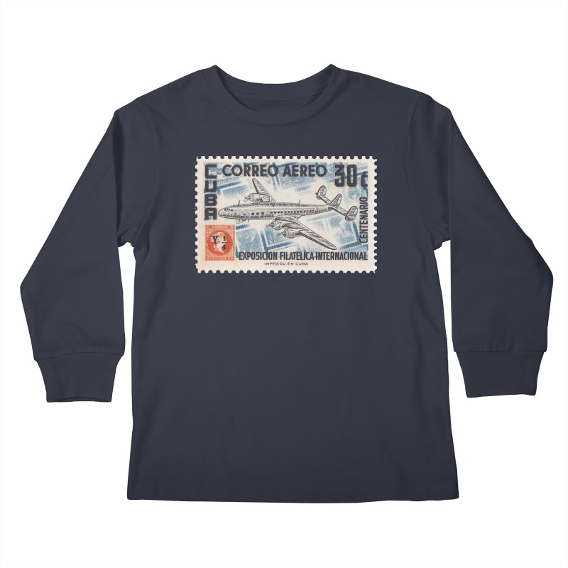 Cuba Vintage Stamp Art 1955 Kids Longsleeve T-Shirt by The Cuba Travel Store Artist Shop