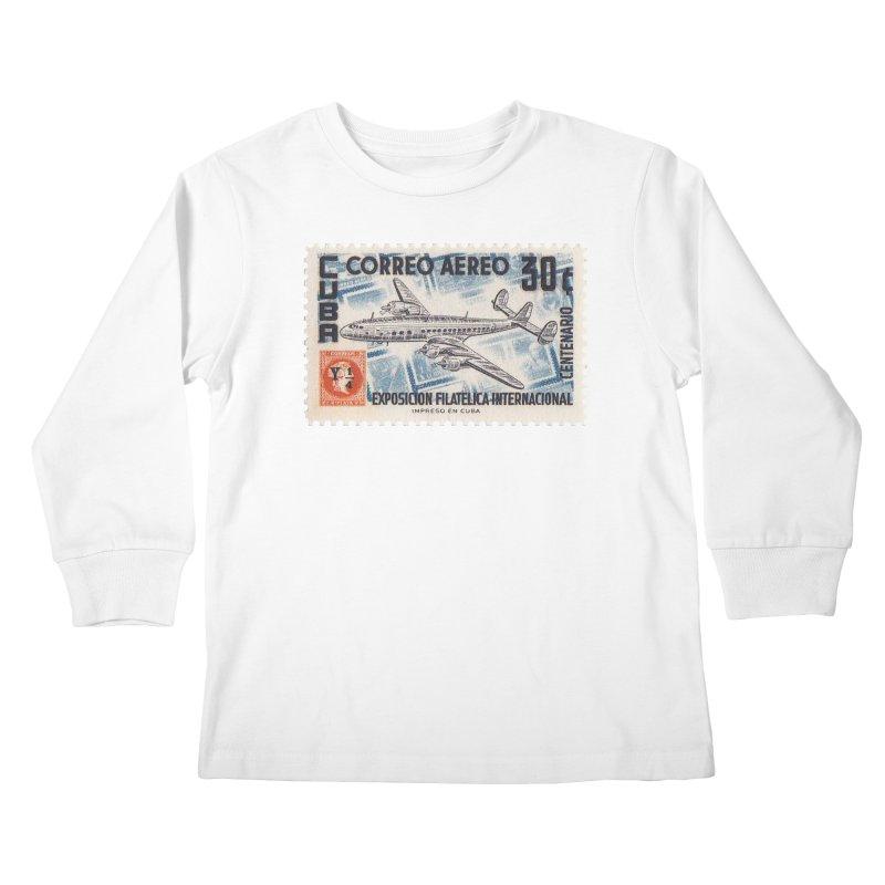 Cuba Vintage Stamp Art 1955 Kids Longsleeve T-Shirt by The Cuba Travel Store Artist Shop
