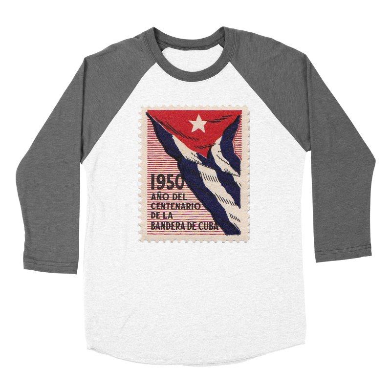 Cuba Vintage Stamp Art 1950 Women's Longsleeve T-Shirt by The Cuba Travel Store Artist Shop