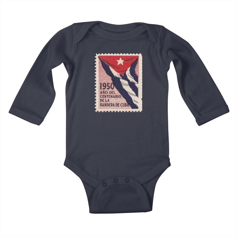 Cuba Vintage Stamp Art 1950 Kids Baby Longsleeve Bodysuit by The Cuba Travel Store Artist Shop