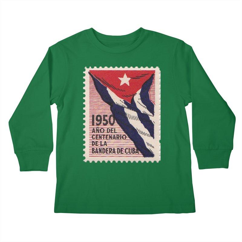 Cuba Vintage Stamp Art 1950 Kids Longsleeve T-Shirt by The Cuba Travel Store Artist Shop