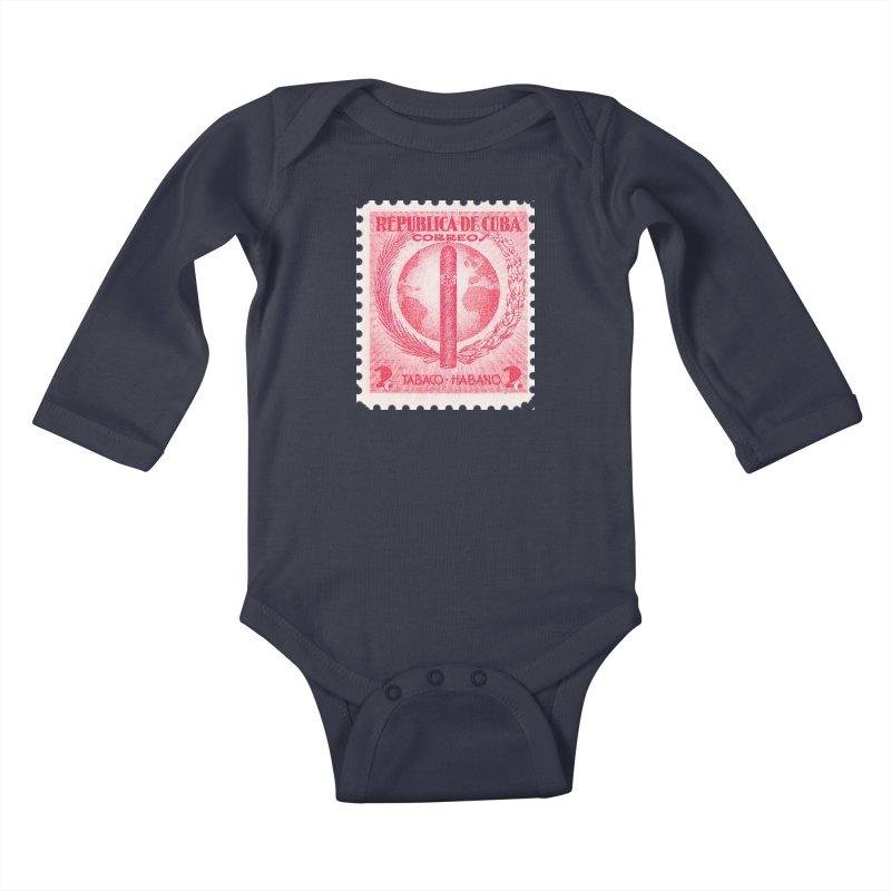 Cuba Vintage Stamp Art 1939  Kids Baby Longsleeve Bodysuit by The Cuba Travel Store Artist Shop