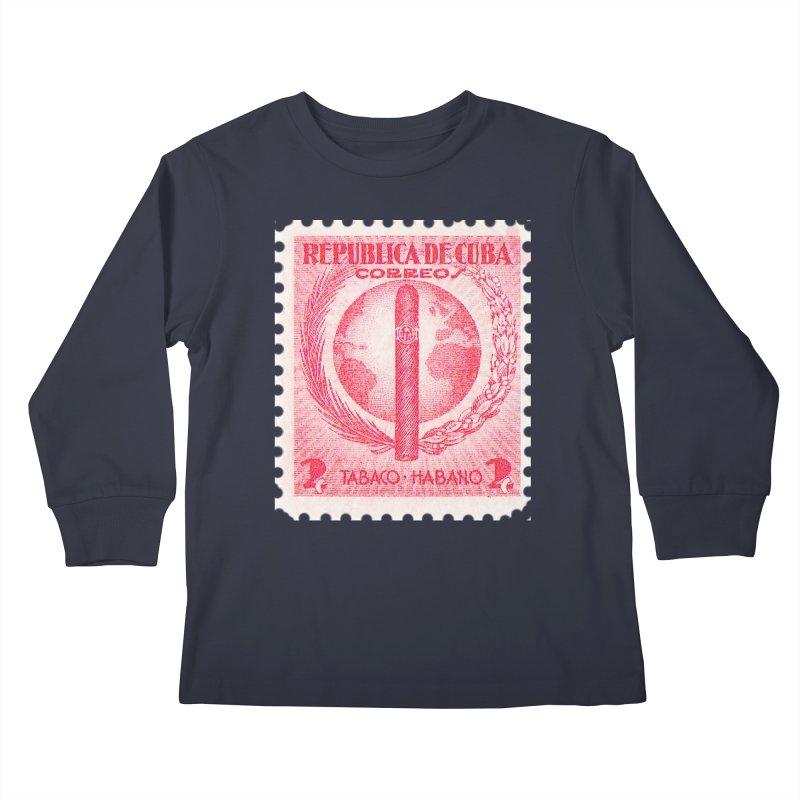 Cuba Vintage Stamp Art 1939  Kids Longsleeve T-Shirt by The Cuba Travel Store Artist Shop