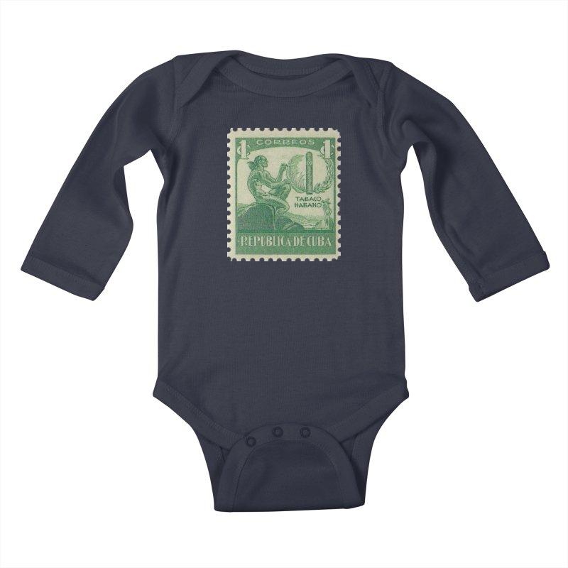 Cuba Vintage Stamp Art 1939 Kids Baby Longsleeve Bodysuit by The Cuba Travel Store Artist Shop