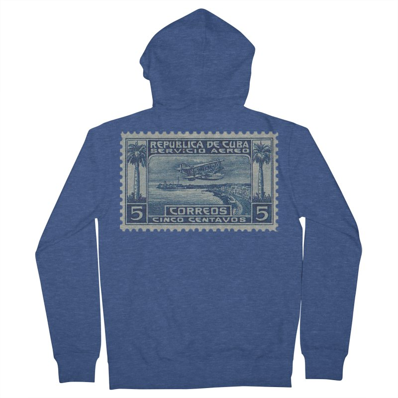 Cuba Vintage Stamp Art Women's French Terry Zip-Up Hoody by The Cuba Travel Store Artist Shop