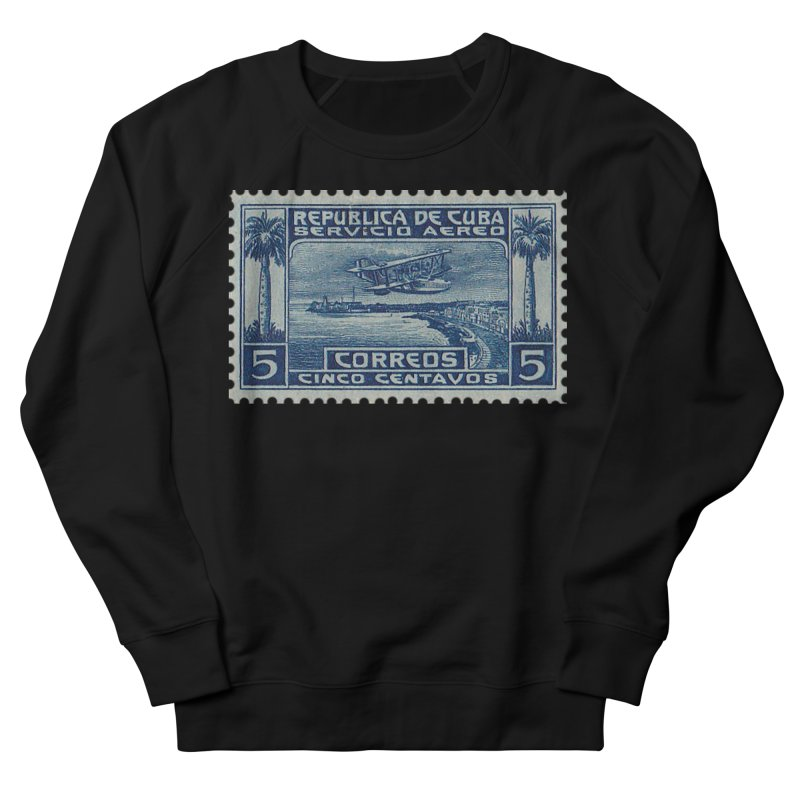 Cuba Vintage Stamp Art Women's French Terry Sweatshirt by The Cuba Travel Store Artist Shop