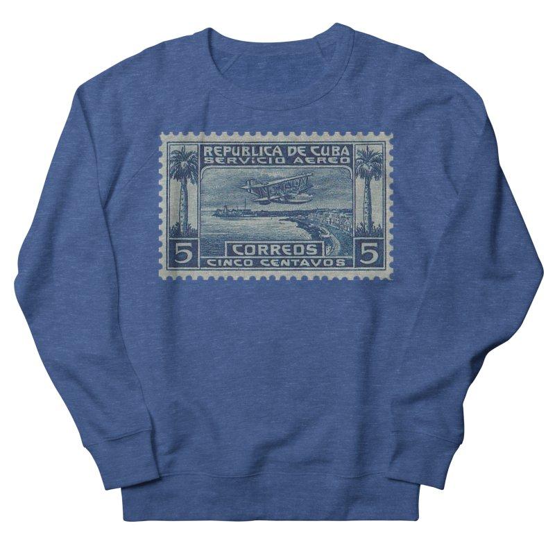 Cuba Vintage Stamp Art Men's French Terry Sweatshirt by The Cuba Travel Store Artist Shop