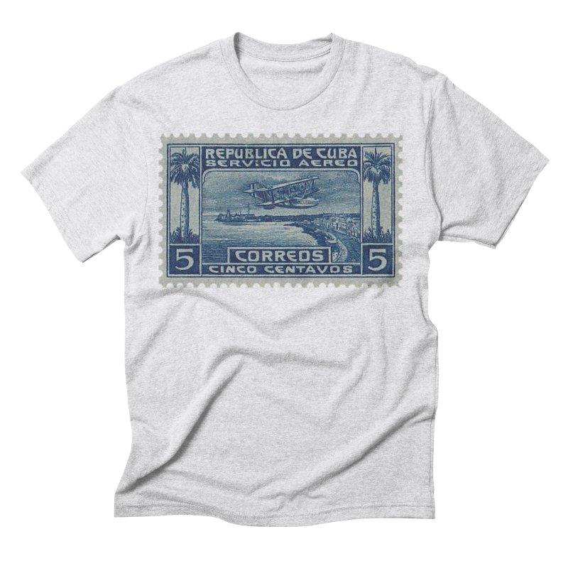 Cuba Vintage Stamp Art Men's Triblend T-Shirt by The Cuba Travel Store Artist Shop