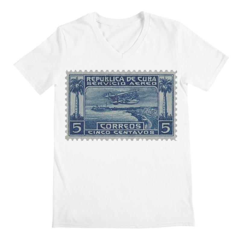 Cuba Vintage Stamp Art Men's V-Neck by The Cuba Travel Store Artist Shop
