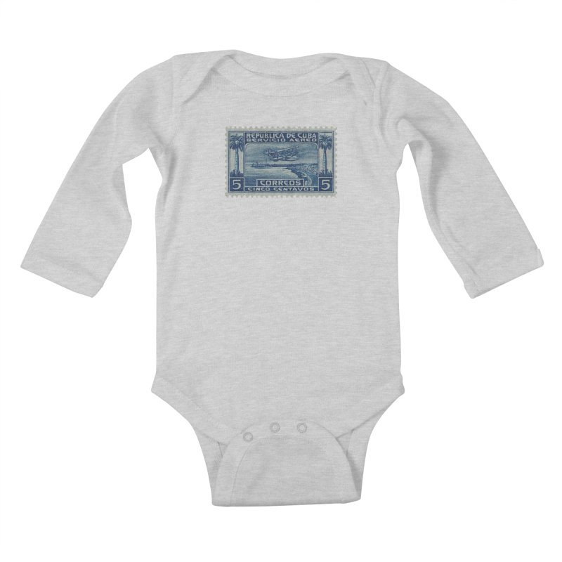 Cuba Vintage Stamp Art Kids Baby Longsleeve Bodysuit by The Cuba Travel Store Artist Shop