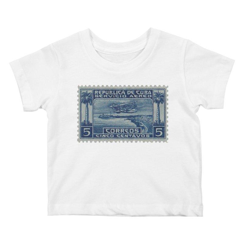 Cuba Vintage Stamp Art Kids Baby T-Shirt by The Cuba Travel Store Artist Shop
