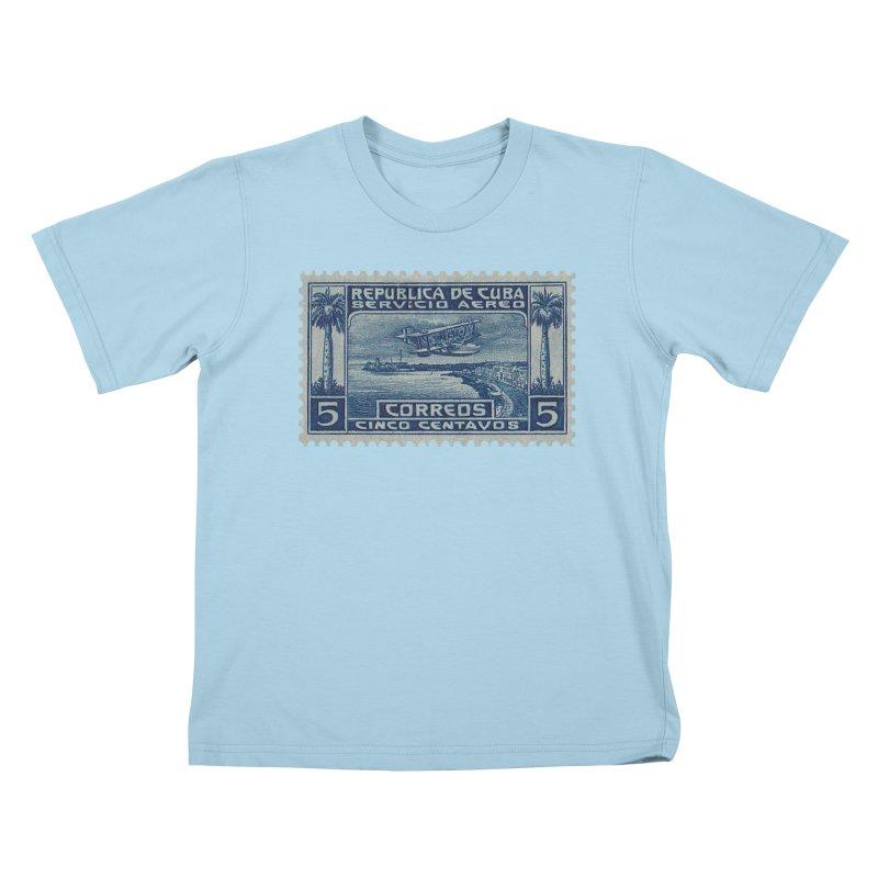 Cuba Vintage Stamp Art Kids T-Shirt by The Cuba Travel Store Artist Shop