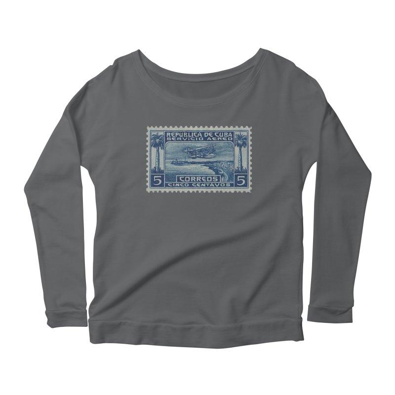 Cuba Vintage Stamp Art Women's Scoop Neck Longsleeve T-Shirt by The Cuba Travel Store Artist Shop