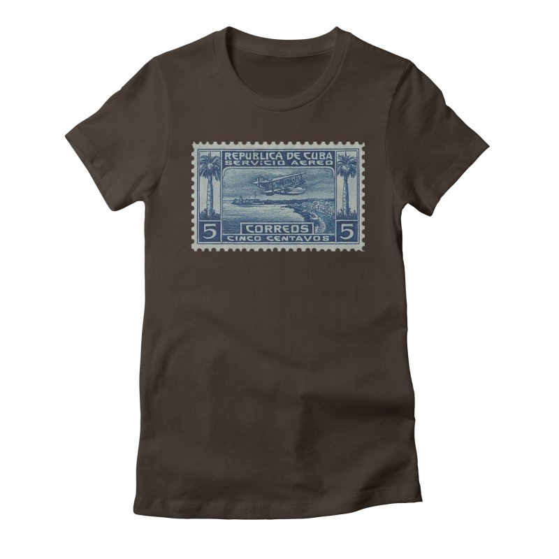 Cuba Vintage Stamp Art Women's Fitted T-Shirt by The Cuba Travel Store Artist Shop