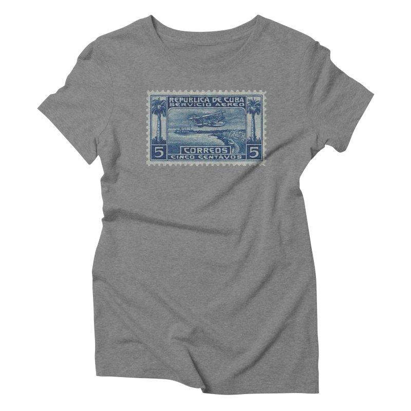 Cuba Vintage Stamp Art Women's Triblend T-Shirt by The Cuba Travel Store Artist Shop