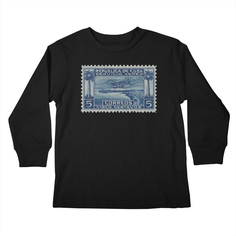 Cuba Vintage Stamp Art Kids Longsleeve T-Shirt by The Cuba Travel Store Artist Shop