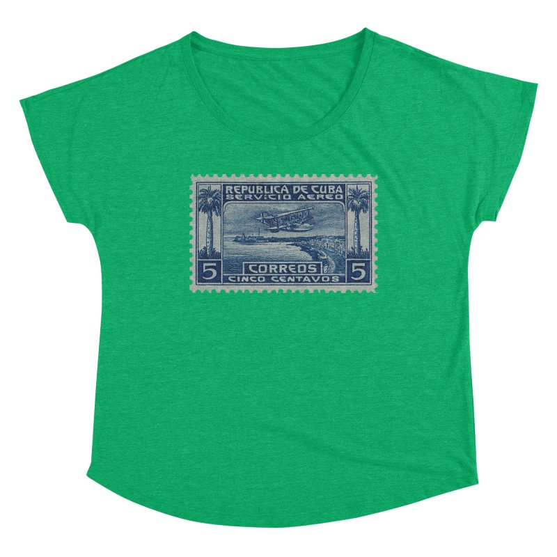 Cuba Vintage Stamp Art Women's Scoop Neck by The Cuba Travel Store Artist Shop